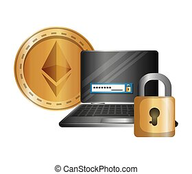 laptop and padlock with ethereum vector illustration design