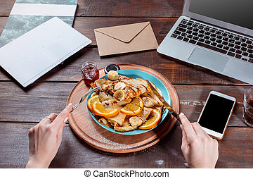 Laptop and pancakes with juice. Healthy breakfast - Laptop ...