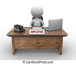 Laptop and phone. Employer - 3d people - man, person sitting...