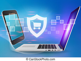 Laptop and phone with shield cart icon on a blue background