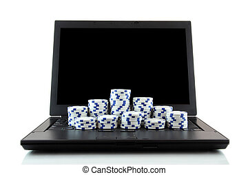 laptop and poker chips