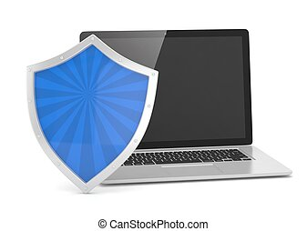 Laptop and shield on white, computer security concept. 3d rendering.