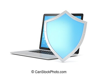 Laptop and shield on white, computer security concept