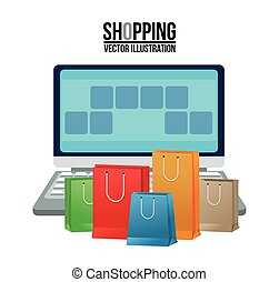 Laptop and shopping bag design