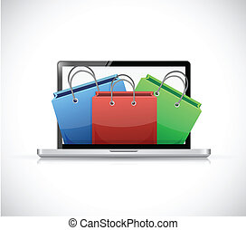 laptop and shopping bags illustration design