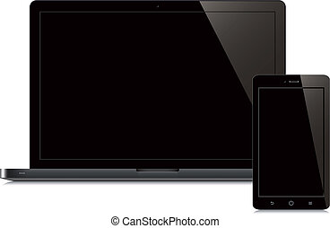 laptop and smartphone black screen white background