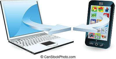 Laptop and smartphone communicating via wireless technology ...