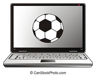 laptop and soccer ball