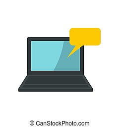 Laptop and speech bubble icon, flat style