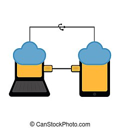 Laptop and tablet connected to cloud technology