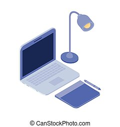 laptop and tablet on white background