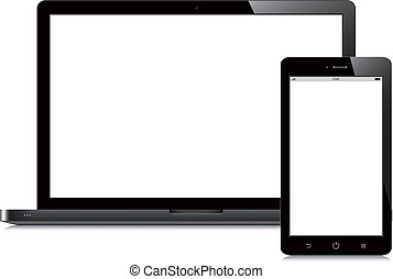 laptop and tablet open screen white background