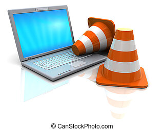 laptop and traffic cones