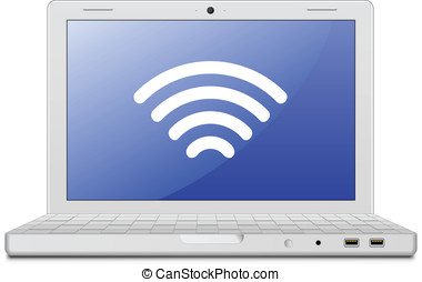 Laptop and wireless network - Wireless concept. Vector...