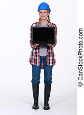 laptop, anläggningsarbetare, presenterande, kvinnlig