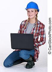 laptop, anläggningsarbetare