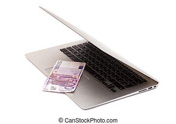 laptop, aperto, 500, euro