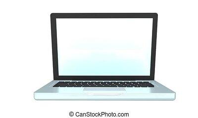 laptop, aperto, animazione, con, soc