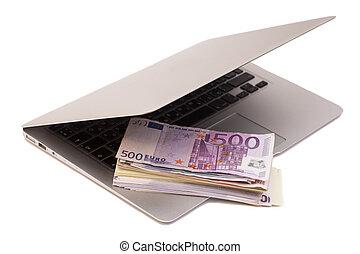 laptop, aperto, soldi, euro