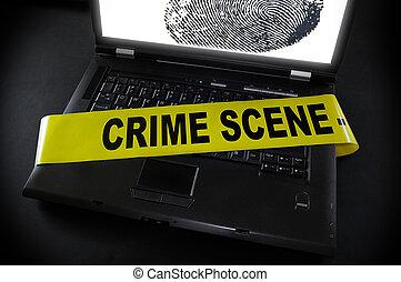 laptop, aquilo, cena, fita, impressão digital, crime, através
