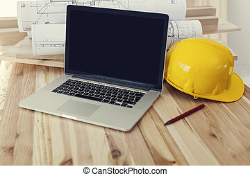 laptop, arbeiter, auf, baugewerbe, arbeitsplatz, schließen