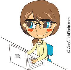 laptop, arbejder, sekretær