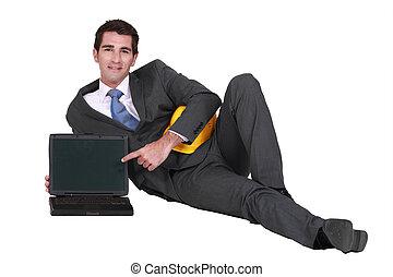 laptop, architekt, czysty