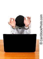 laptop, aresztowany, człowiek