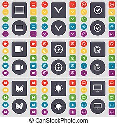 Laptop, Arrow down, Tick, Film camera, Compass, Survey, Butterfly, Light, Monitor icon symbol. A large set of flat, colored buttons for your design. Vector