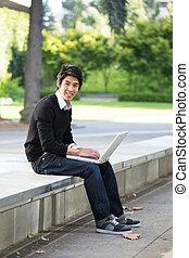 laptop, asiático, estudante
