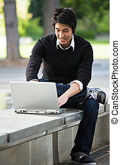 laptop, asiatico, studente