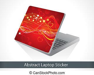 laptop, astratto, natale, baluginante, adesivo, rosso