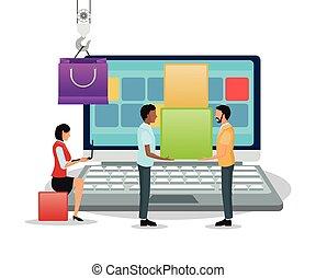 Laptop avatars and shopping bag design