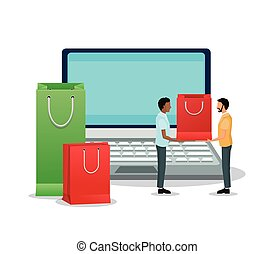 Laptop avatars and shopping bag design