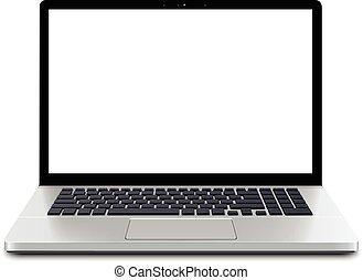 laptop, avskärma, tom
