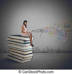 laptop, böcker