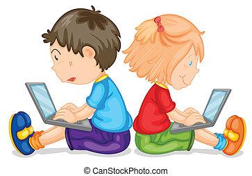 laptop, børn