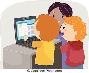 laptop, bambini, stickman, classe, illustrazione
