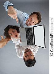 laptop, befolyás, csoport, emberek