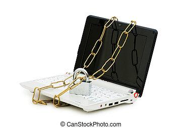 laptop, begrepp, dator säkerhet, kedja