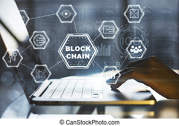 laptop, begriff, blockchain
