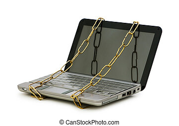 laptop, begriff, computersicherheit, kette