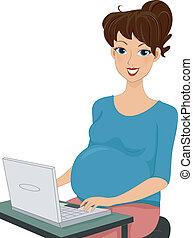 laptop benutzend, frau, schwanger
