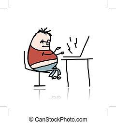laptop, biuro, pracujący, człowiek