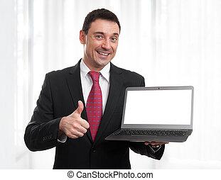 laptop, biznesmen, ekran, czarnoskóry, uśmiechanie się