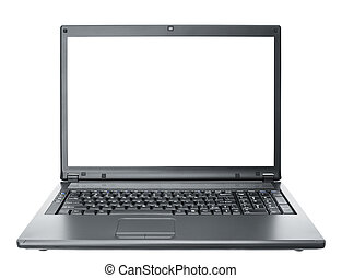 laptop - black computer notebook isolated on white ...