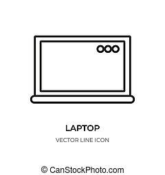 Laptop black line icon computer pc notebook vector