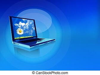 laptop, blume, schirm