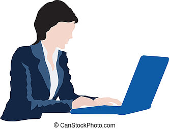 laptop, branche kvinde