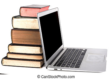 laptop, buecher, silber